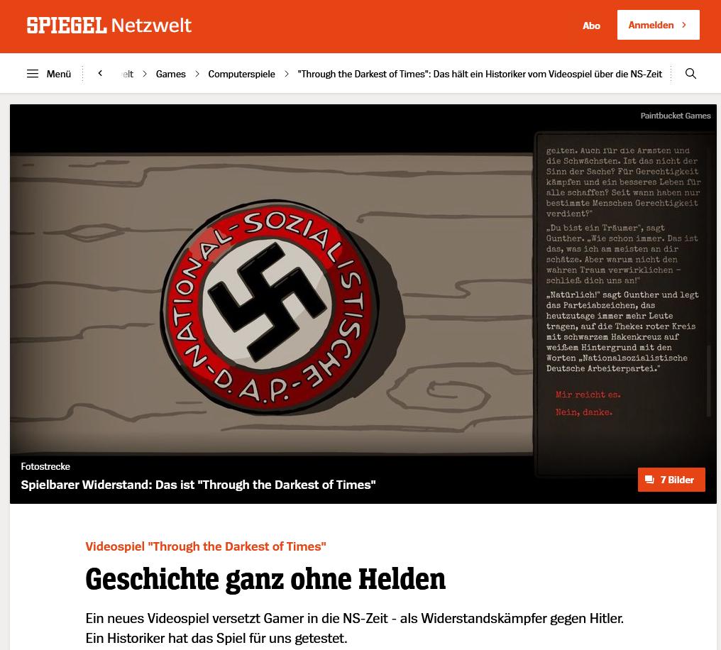Interview mit Matthias Kreienbrinck zu Through The Darkest Of Times bei Spiegel Netzwelt
